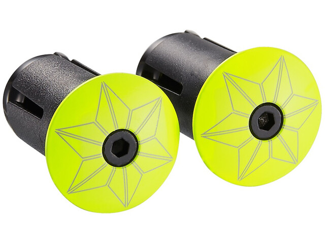 Supacaz Star Plugz Tapas de manillar, neon yellow powder-coated